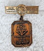 RARE 1927 MASONIC MEDAL GRAND CHAPTER O.E.S. CHICAGO IL BRASS S D CHILDS MINTY