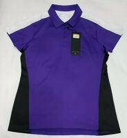 NEW Antigua Womens Sequence Desert Dry Golf Polo Shirt Purple Black White Size M