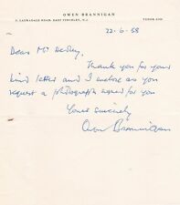 OWEN BRANNIGAN opera bass one page autographed letter signed, 1958