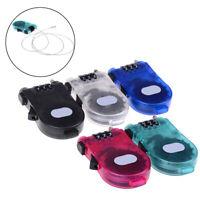 Retractable 3-Digit Combination Cable Code Lock Bike Luggage Travel Padlock ES
