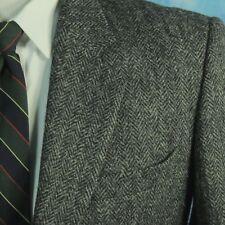HARRIS TWEED Mens 48R Gray Herringbone Handwoven Scottish Wool Blazer Sportcoat