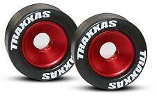 Mounted Wheelie Bar Tires/Wheels Red (2) Rubber Traxxas Revo E-Maxx  TRA5186