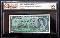 1967 Bank of Canada $1 Replacement *F/P 8018117 BCS CH.UNC-62 Original BC-45ba-i