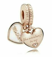 Genuine 925 Silver Mother /& Daughter Hearts Pendant Charm set of 2 gift box