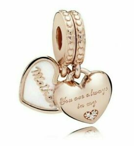 Rose Gold Sterling Silver 925 Mother & Daughter Duo Twin Heart Dangle Charm Set