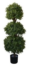 Best Artificial Natural Look 4ft 120cm Boxwood Topiary Triple Ball Wood Tree