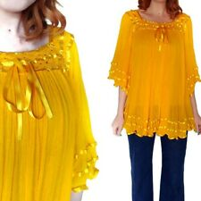 Vtg 1970s Yellow Gauze Tunic Top Retro Mexican Cotton Blouse One Size Fits All