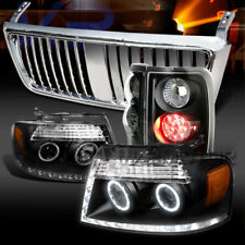 04-08 F150 Black Halo DRL Projector Headlights+LED Tail Lamps+Chrome Grille