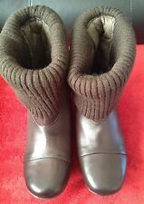 New *Clarks*(size Uk 4) Brown Leather Ankle Boots Pixi Flat