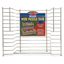 Metal Wire Storage Rack 12 Wood Puzzle Kids Play Room Day Care Toy Organizer New