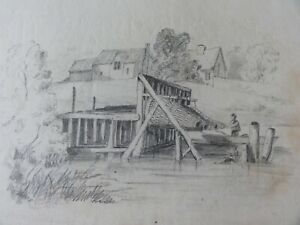 AN ANTIQUE OLD  PENCIL DRAWING, PICTURE OF A  VILLAGE, RIVER, MAN IN A BOAT