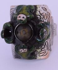 Old sterling silver enameled Frog ring, Chinese, asian export antique large
