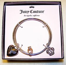 New $26 JUICE COUTURE BANGLE BRACELETS Heart, Rhinestone Crown Ring Charms w/Box