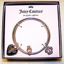 New JUICY COUTURE BANGLE BRACELETS Heart, Rhinestone Crown Ring Charms w/Box