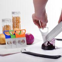 Gemüseschneider Küchenhelfer Edelstahl Einfache Zwiebelhalter Slicer Tools flYfE