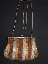 True 50's Vintage * Gold/Bronze/Silver Beaded  Bag
