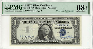 1957 $1 SILVER CERTIFICATE COURTESY AUTOGRAPH FR.1619 PMG SUPERB GEM 68 EPQ