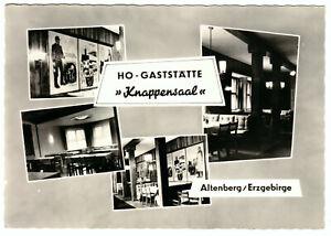 "AK, Altenberg Erzgeb., HO-Gaststätte ""Knappensaal"", vier Abb., gestaltet, 1962"