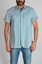 NEIL BARRETT men Shirts Sz 39 cm Beige Denim Shirt Short Sleeve Loose Fit  Be...