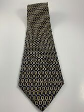 Paolo Gucci Tie -made In Italy. Silk. Chain Pattern. Navy Blue. 58.5 X 4