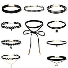 90'S Punk Fashion 10 Pcs Choker Necklace Set Velvet Classic Gothic Lace Choker