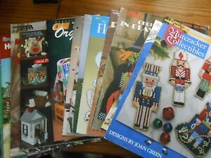 Lot of 16 Plastic Canvas Pattern Leaflets - all pictured