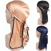 Unisex Satin Breathable Bandana Hat Silky Durag Do Doo Du Rag Long Tail Headwrap