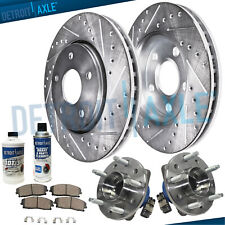 Front Wheel Bearings + Drilled Slot Brake Rotors Chevy Impala Pontiac Grand Am