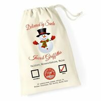 Personalised Christmas Santa Sack Snowman Xmas Present Stocking