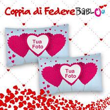 Coppia di federe love per cuscini personalizzate con nomi Petali di cuore