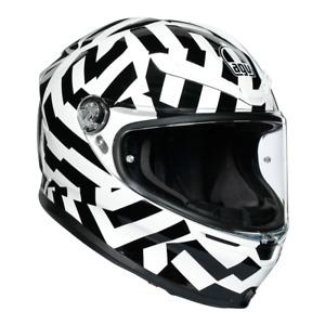 """AGV K6 """"Secret"""" Motorcycle Motorbike Full Face Helmet - Black / White"""