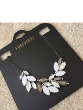 NEW Forever 21 Asymmetrical Cluster Statement Crystal Rhinestone Party Necklace