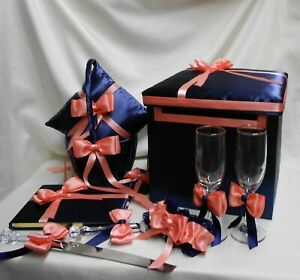 Navy Blue Coral Flower Girl Basket Ring Bearer Pillow Card Box Guest Book Cake