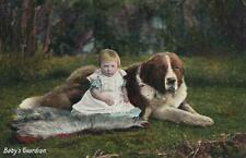 EARLY 1900's VINTAGE YOUNG TODDLER LEANING on GIANT ST BERNARD DOG POSTCARD