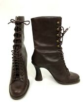 Euro Club Boots Womens Size 6B Brown Leather Victorian Steampunk Lace Up Heels