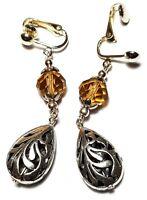 A Pair Long Amber clip on Earrings Tibetan Silver Style crystal Boho Hippy
