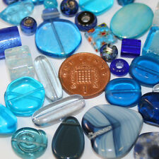 50g Variety Mixed Beads; Various Sizes Dark Blue/Light Blue