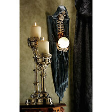 Hooded Grim Reaper Bony Illuminated Sculpture Globe Wall Lamp