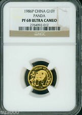 1986-P PROOF GOLD 1/10 Oz PANDA NGC PF68 PR68 CHINA 10Y 10-YUAN YN !