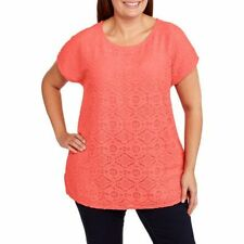 3 Lace Front Shirt Faded Glory Women's Plus Size 2x (18w-20w) Short Sleeves