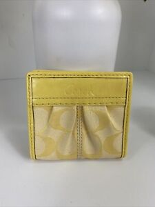 Coach Wallet Ashley Small Signature Leather Canvas Snap Bifold Yellow W37