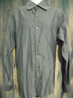 Ermenegildo Zegna Mens Grey Long Sleeve Button Up Oxford Casual Shirt Size L