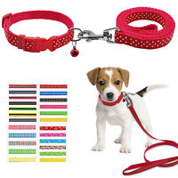 Nylon Puppy Dog Collars and Leads Leash Soft for Small Large Dogs Walking S M L