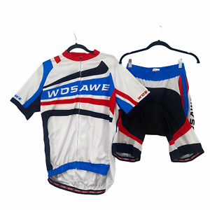 Wosawe Cycling Jersey & Shorts Bicycle Rider Red White Blue Men's Size XL