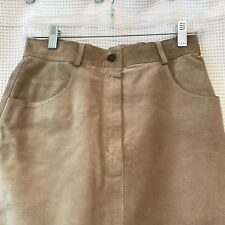 Vintage GUCCI Women's 42 Camel Tan Suede Leather Pencil Skirt Italy