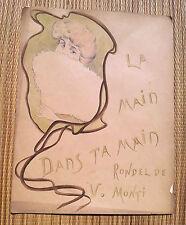 Ancienne partition parole dessin ART NOUVEAU chanson main dans ta main V. Monti