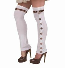 Steampunk Spats/Leggings Ladies White Knit Leg Covers W/ Buckled Strap & Gears
