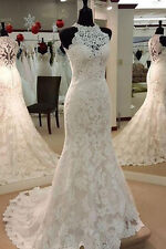Halter Lace Mermaid Wedding Dress Bridal Gown Custom Size 4 6 8 10 12 14 16 18++