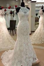 Halter Lace Mermaid Wedding Dress Bridal Gown Custom Size 4 6 8 10 12 14 16 18++