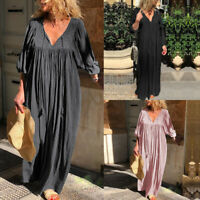Bouffant Femme Robe Patchwork Dentelle Manche Longue Casuel Loose Dresse Plus